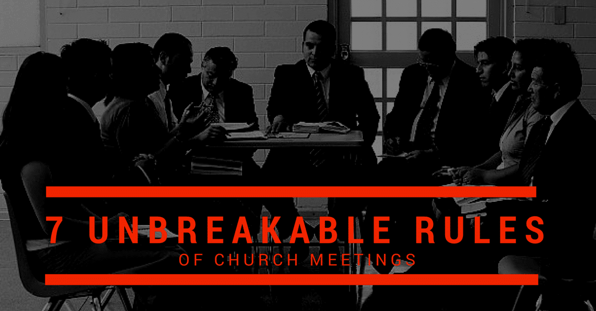 """A ward council meeting with the text """"7 Unbreakable Rules"""""""