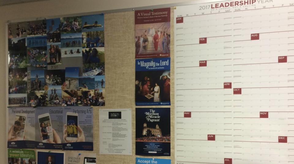 Ward Calendar on wall in office