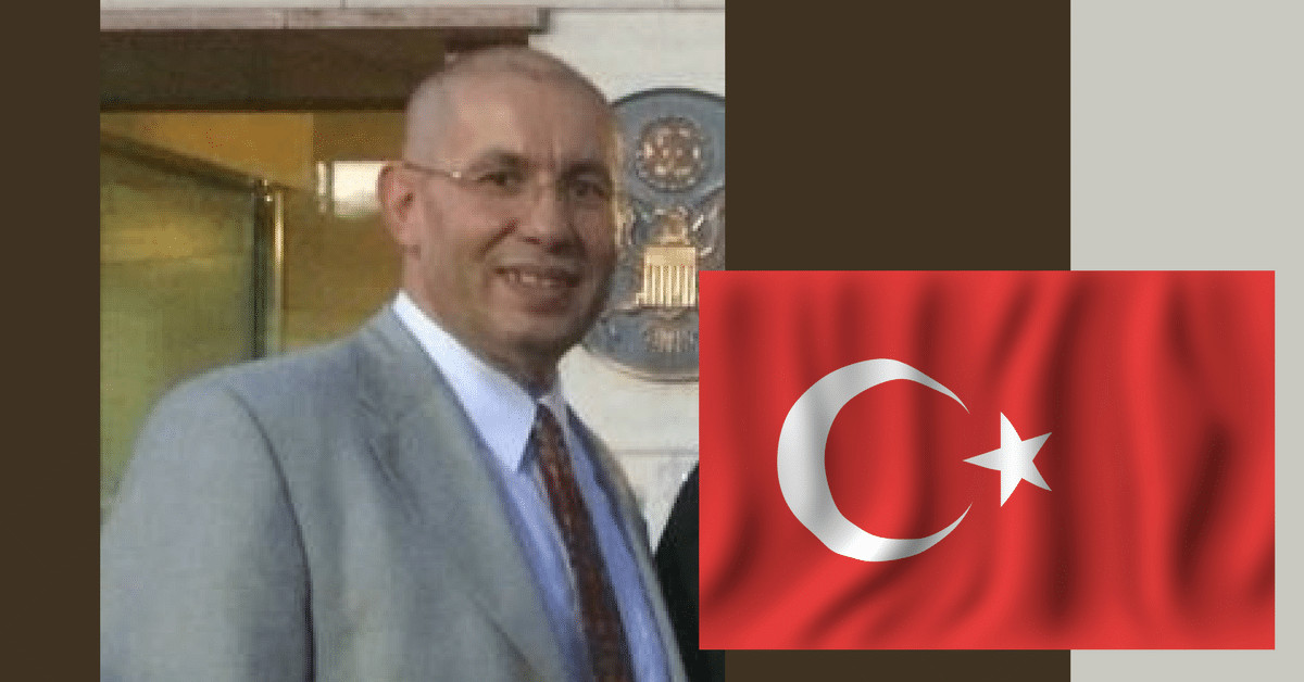 photo of Murat Cakir alongside an image of a waving Turkish flag