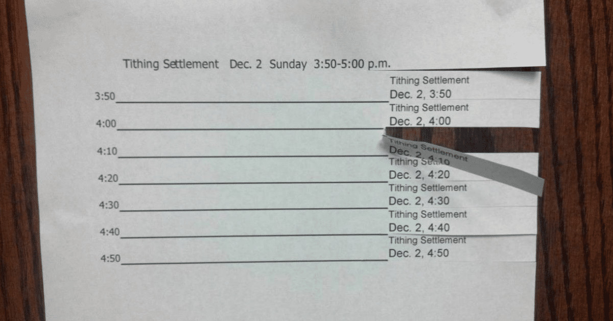 Tithing settlement sign-up form with tear-off tabs