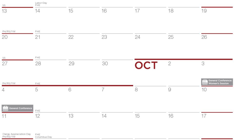 Closeup of October on horizontal 2020 Ward Calendar