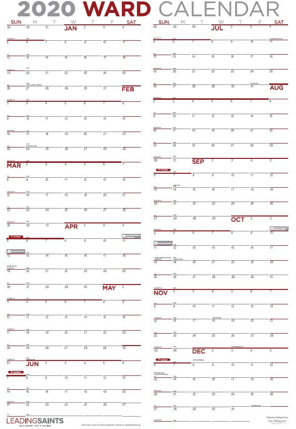 Vertical 2020 Ward Calendar