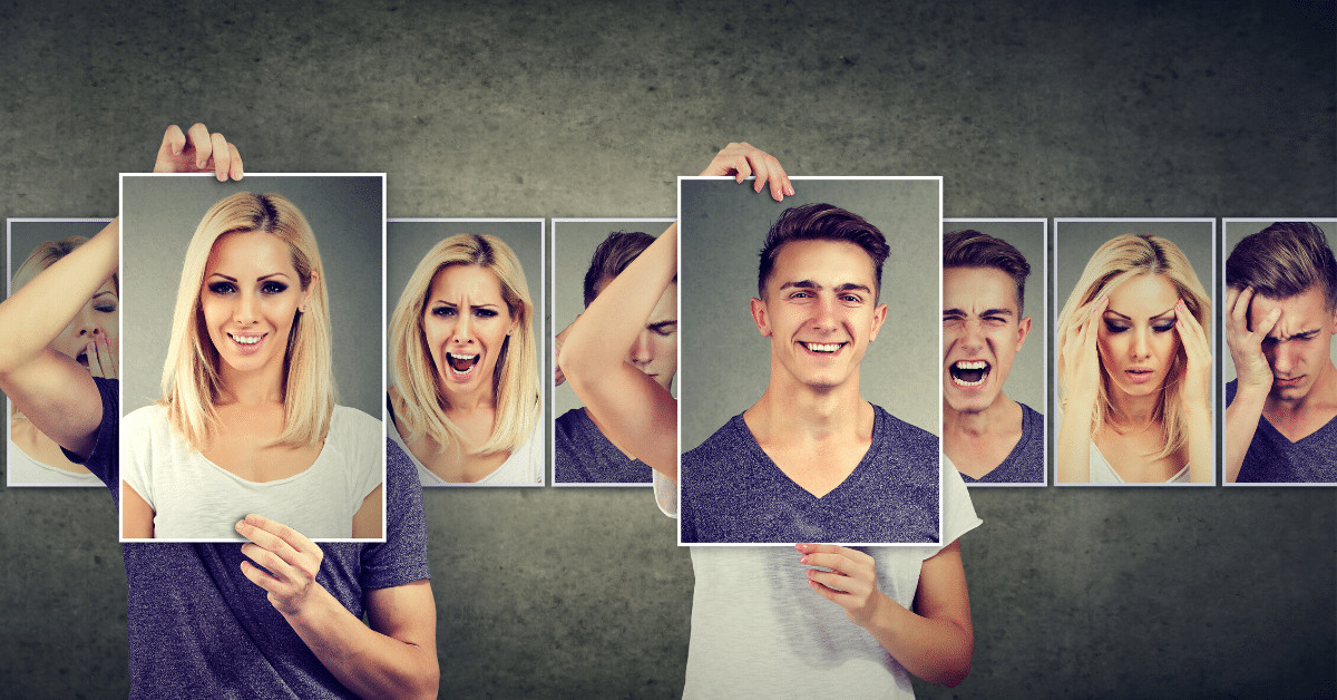 images of a man and woman with different facial expressions, highlighting two photos with happy faces