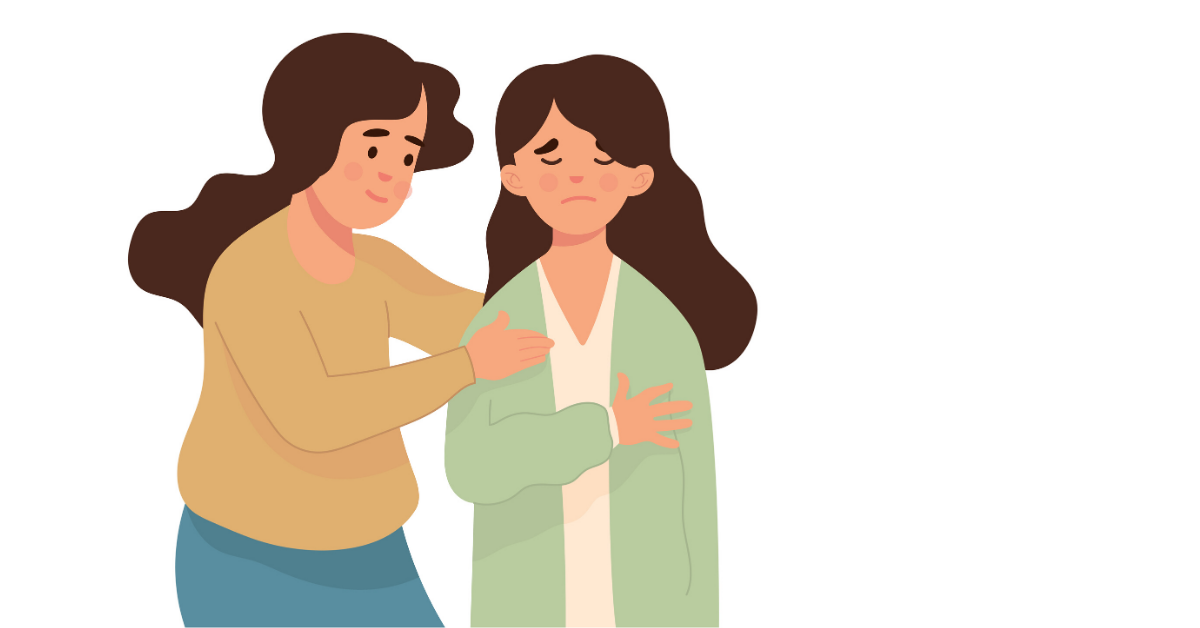 Drawing of a woman comforting a friend