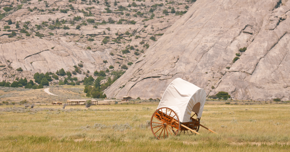 A handcart out in a field in Wyoming