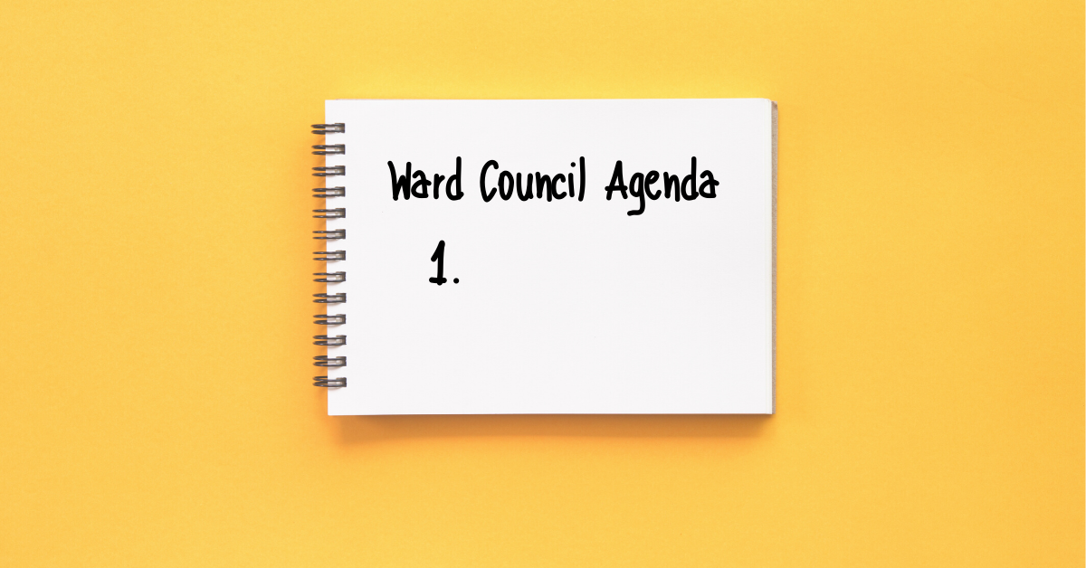 "A notebook on a yellow background with the text ""Ward Council Agenda"" and space for only one item"