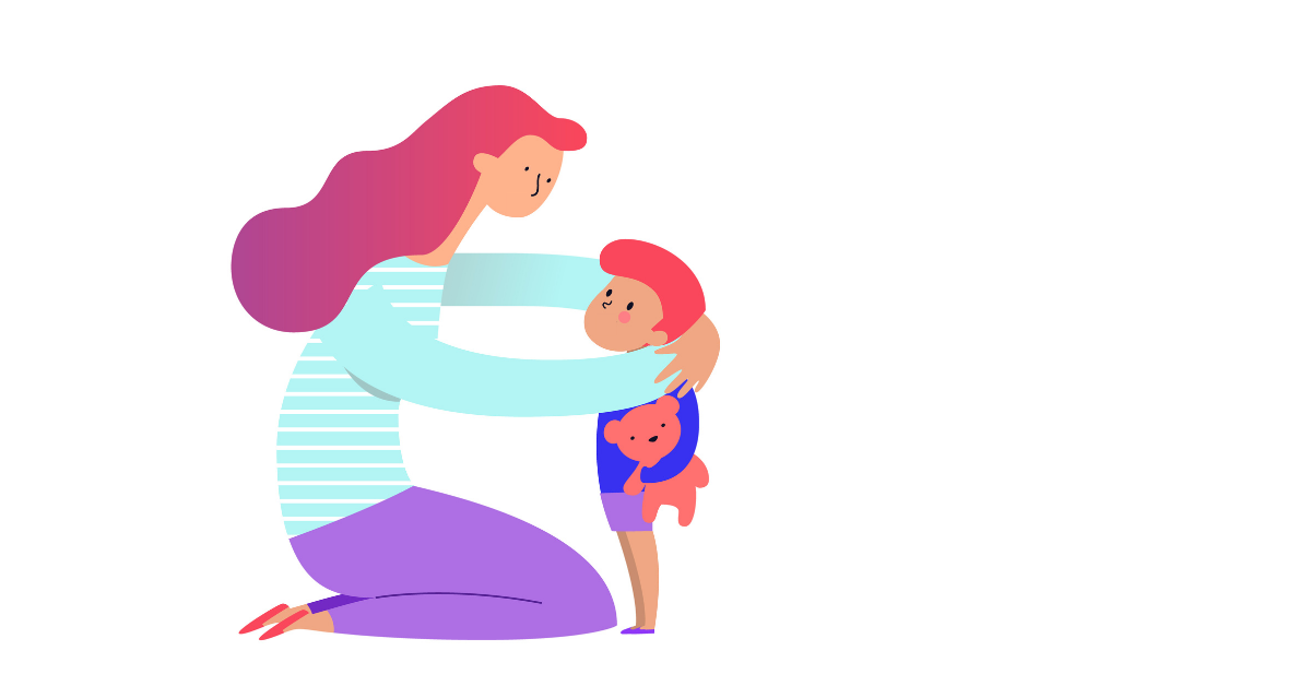 Illustration of a woman kneeling by and putting her arms around a young child, who is holding a teddy bear