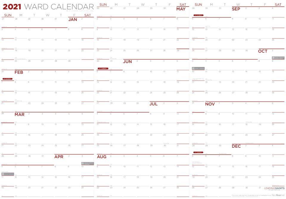 2021 Calendar in landscape format