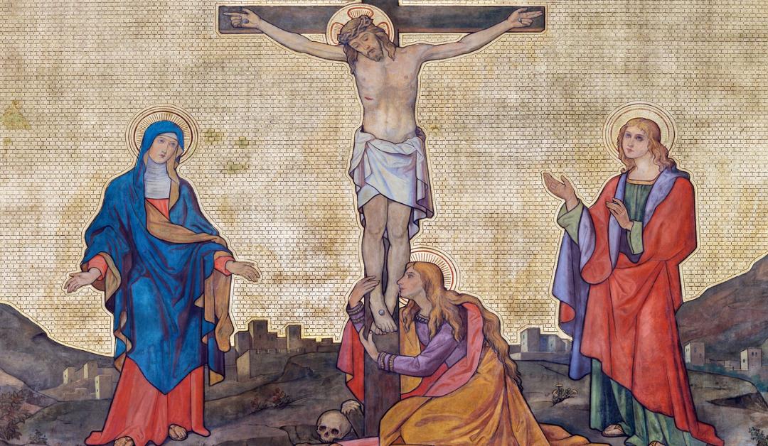 The fresco of Crucifixion in church kostel Svatého Cyrila a Metodeje, probably by Gustav Miksch and Antonin Krisan; Renata Sedmakova/Shutterstock