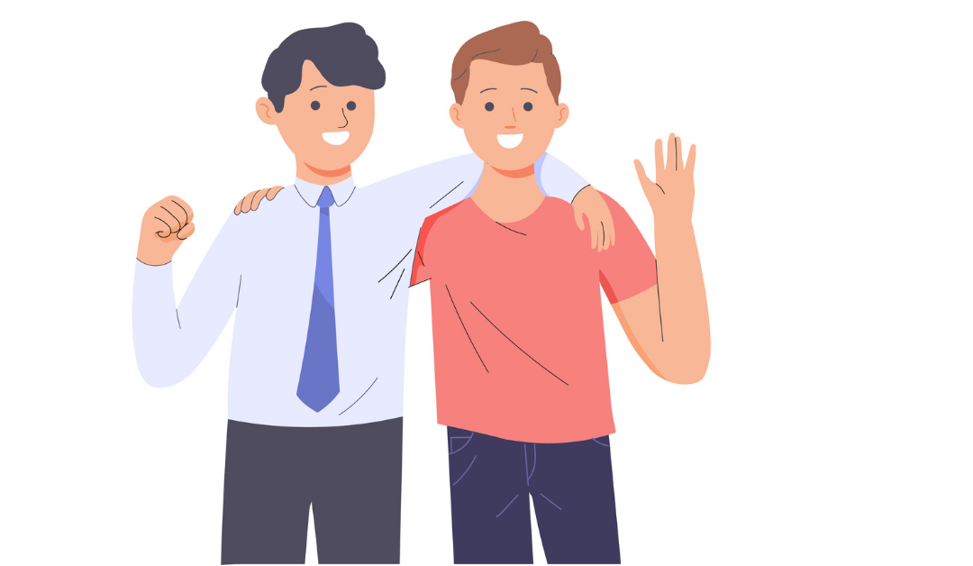 Illustration of two happy men facing the viewer, their arms around each other's shoulders