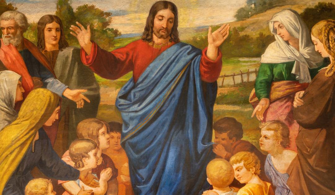 The painting of Jesus among the children in the church Esglesia De Santa Maria De Montalegre