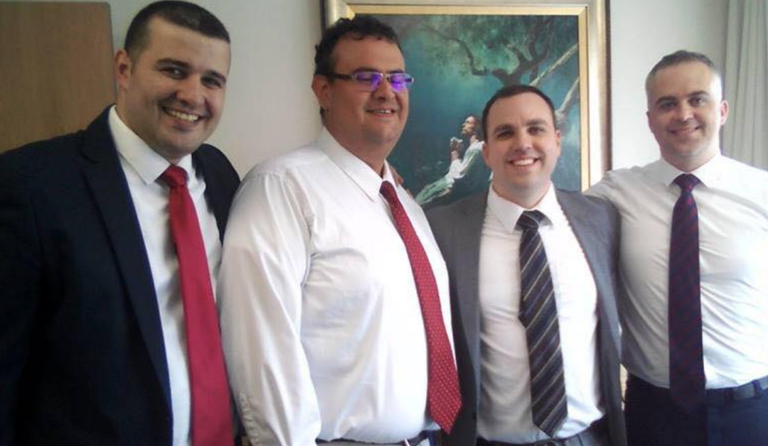 Lewis Howarth (2nd from right) bishopric